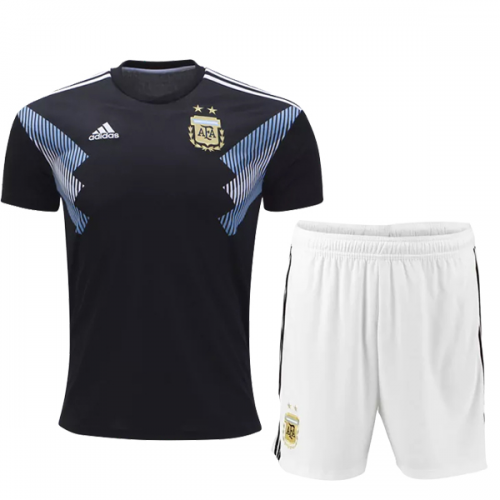 c20c01157 2018 World Cup Argentina Away Black White Jersey Kit(Shirt+Short ...