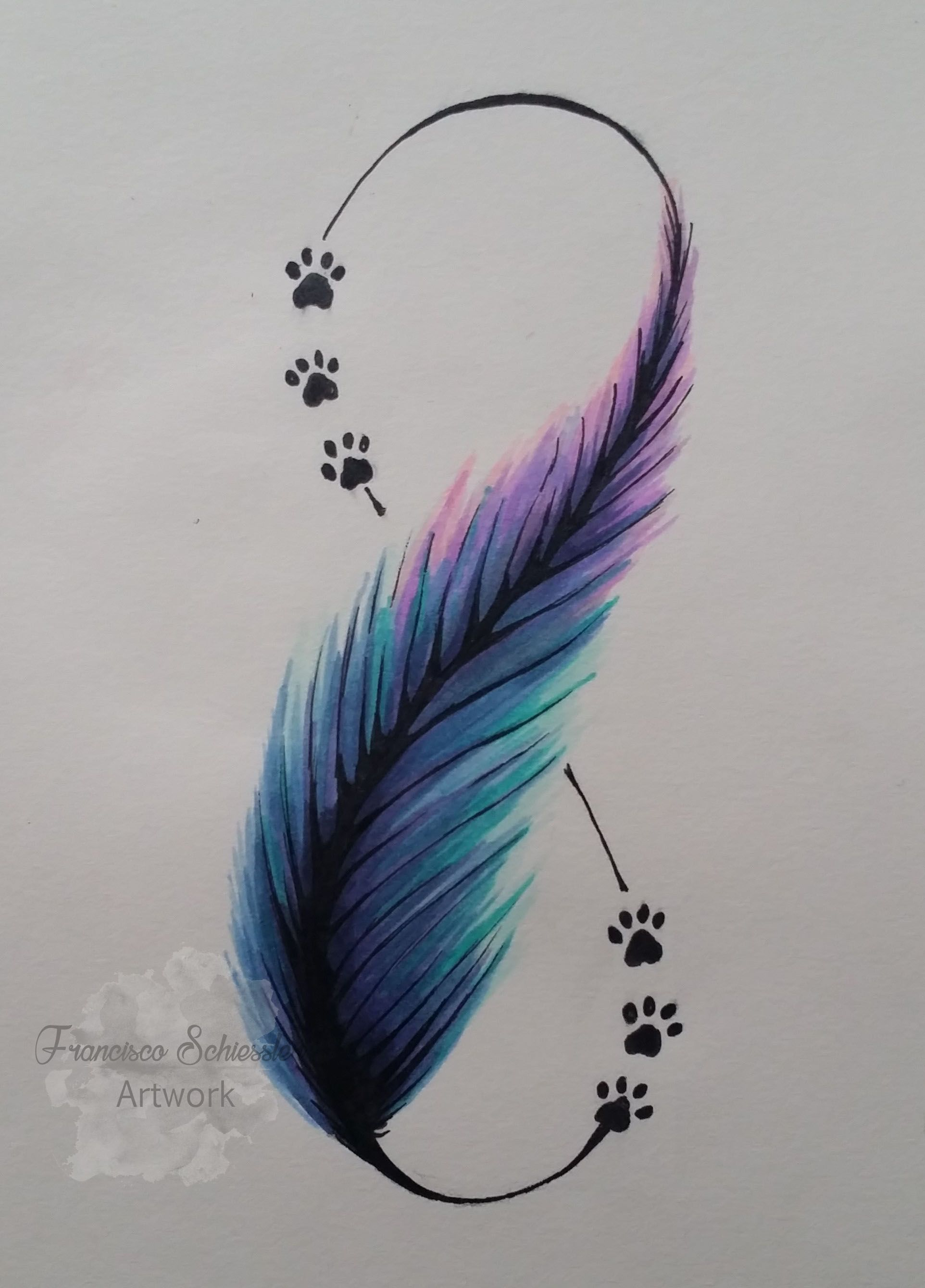 Pluma Estilo Acuarela Feather Watercolor Doglovers Infinito