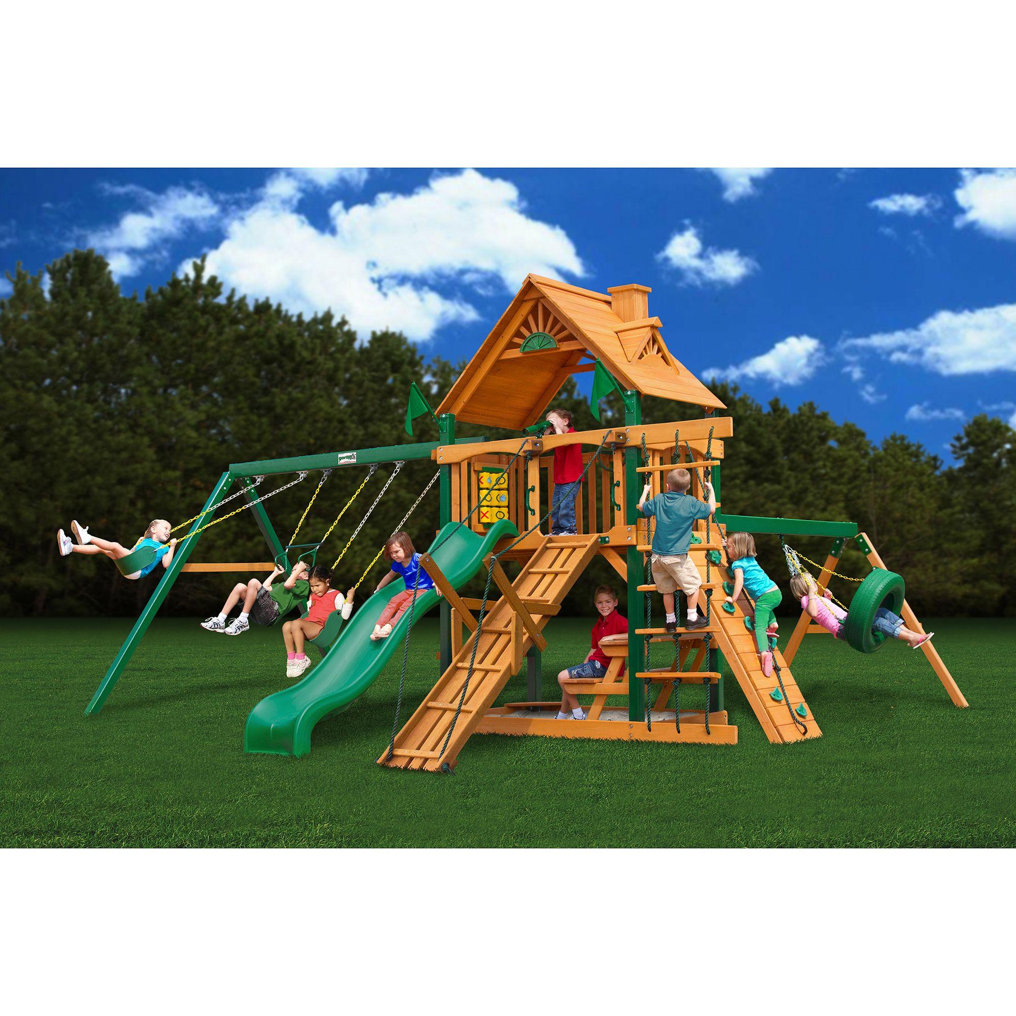 Gorilla Playsets Frontier Cedar Wooden Swing Set Bentley Wooden