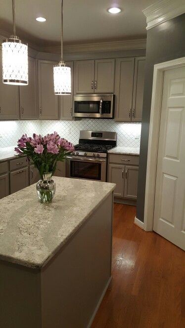 Gray Cabinets White Arabesque Backsplash Tile And