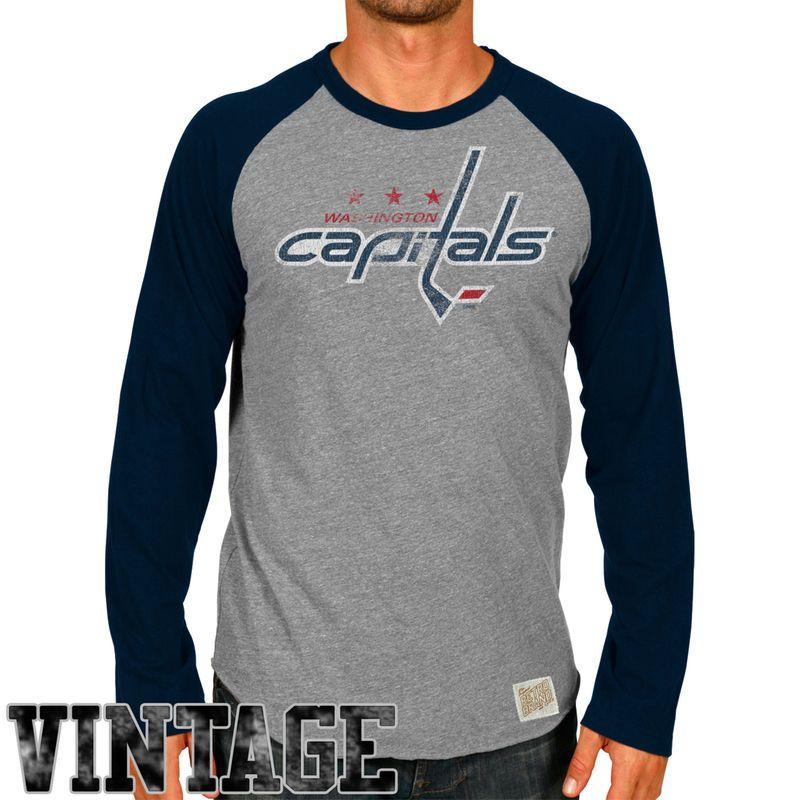Original Retro Brand Washington Capitals Raglan Long Sleeve T-Shirt -  Ash Navy Blue 3f903a7dd
