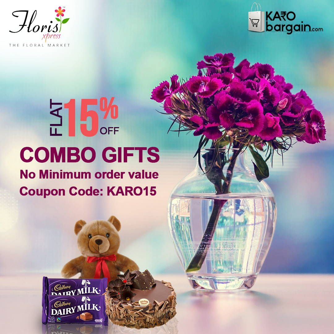 Get Flat 15 Discount on combo orders of Flowers &