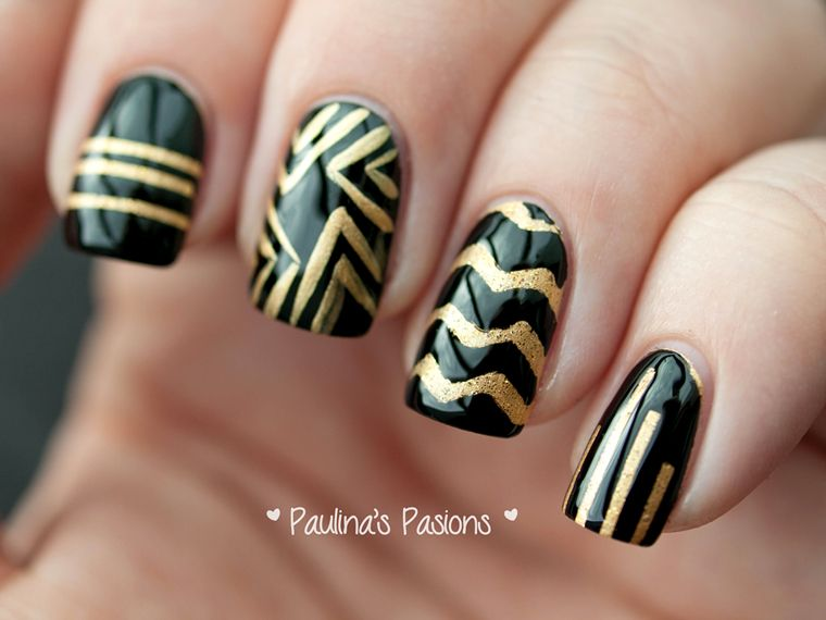 black and gold nail designs - Black And Gold Nail Designs Nails For Emily Pinterest Gold