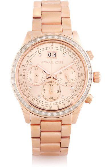 033eb5b32dd8 Michael Kors Brinkley Pavé Rose Gold-Tone Watch