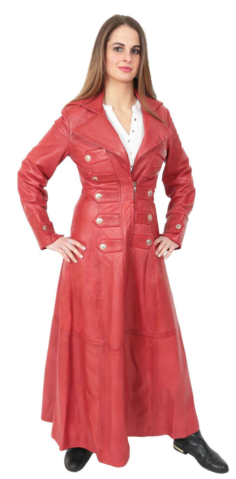 Ladies full length real leather RED coat gothic trench mac ...