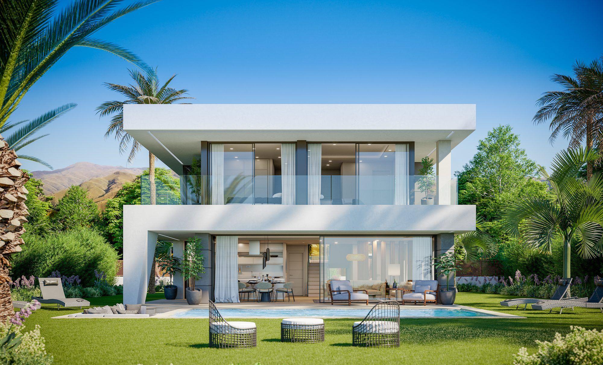 Luxury Villa Modern And Fresh Design In Duquesa Area In Manilva Spain For Sale 10765731 In 2020 Modern Villa Design Small Villa House Architecture Design