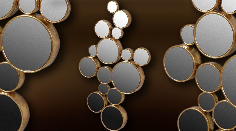 Déco murale 15 miroirs ronds patine dorée | Déco | Pinterest ...