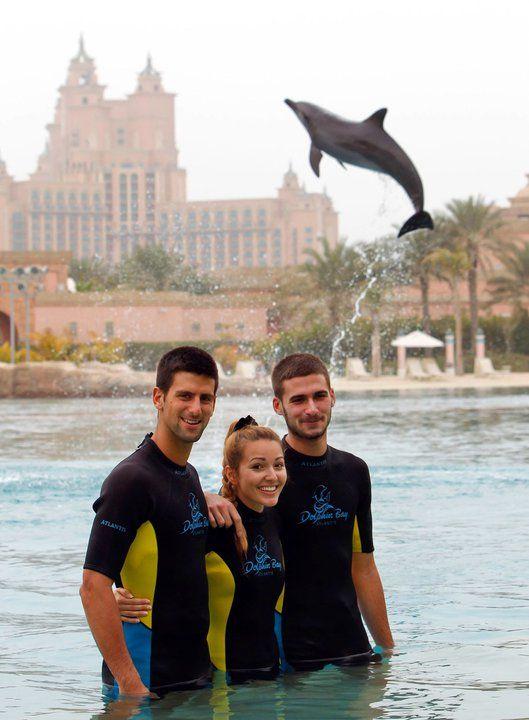 Novak Djokovic His Girlfriend Jelena Ristic And His Brother Marko Visiting The Dolphin Bay At Atlantis The Palm Repin Like Dubai Dubai City Celebrities