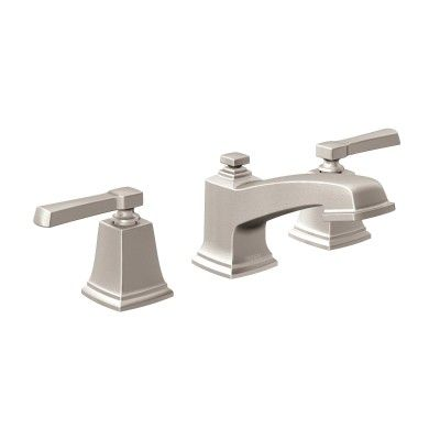 Moenboardwalk Spot Resist Brushed Nickel Twohandle Low Arc Fair Brushed Nickel Bathroom Faucets Decorating Inspiration