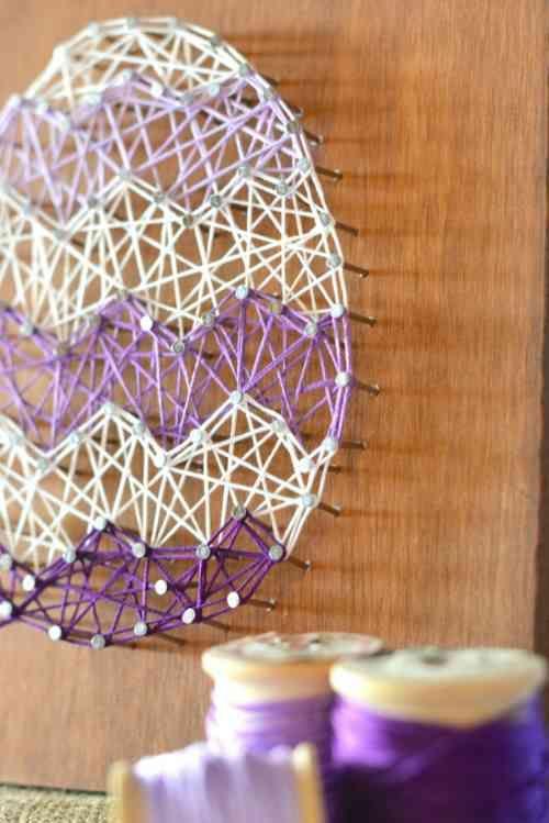 activit manuelle pour p ques en 46 id es diy all the string art deco paques bricolage. Black Bedroom Furniture Sets. Home Design Ideas
