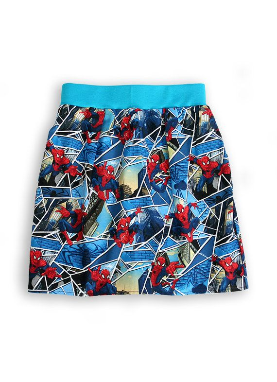 Amazing Spiderman print for all superheroes' fans! Join the adventure! Super comfortable and practical cotton skirt, allowing lots of movement, with pockets for storing little treasures. Elastic waistband for a great fit. Ideal to play and feel free. Unisex. Handmade with love in the UK. www.ziamoo.com
