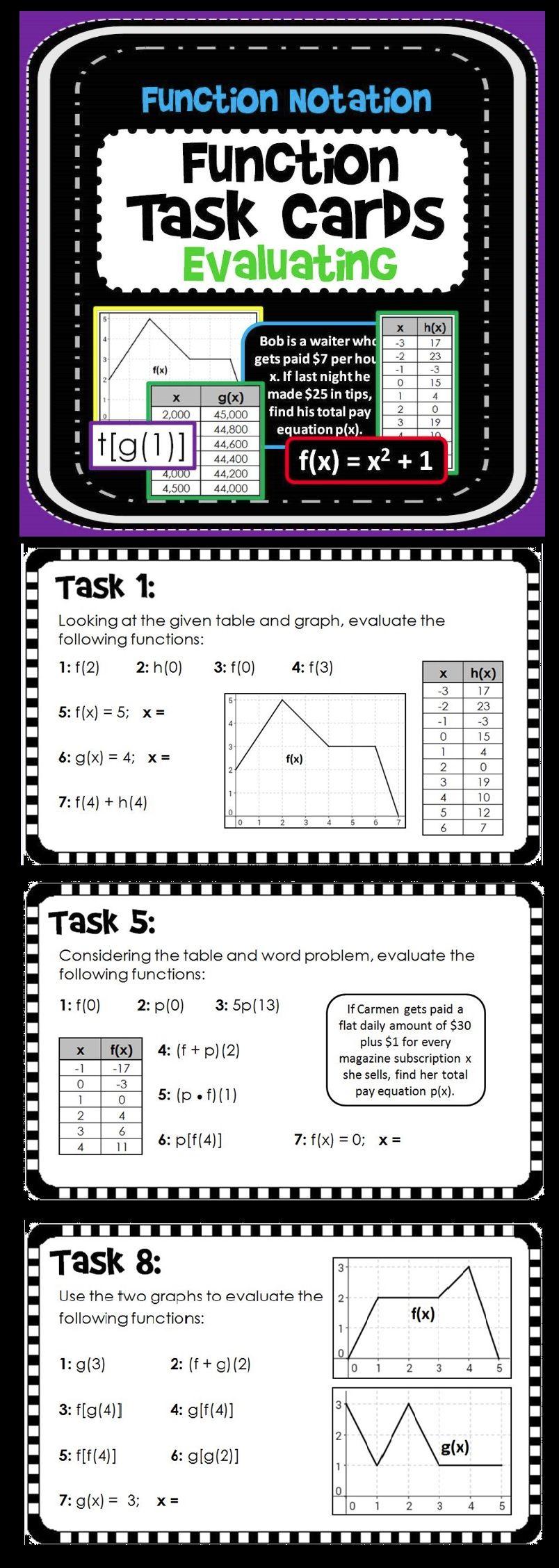 Evaluating Functions Tasks Print And Digital School Algebra Algebra Activities Teaching Algebra