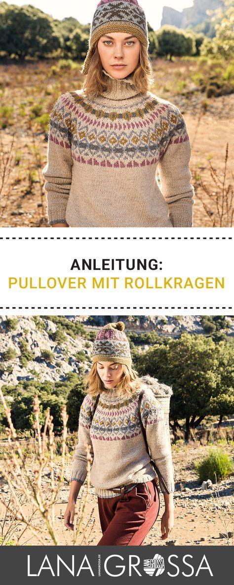 Gratis Anleitung: Schicken Norwegerpulli mit Rollkragen