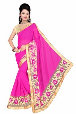New Pink Designer Georgette Saree With Beautiful Lace And Blouse Piece Sarees