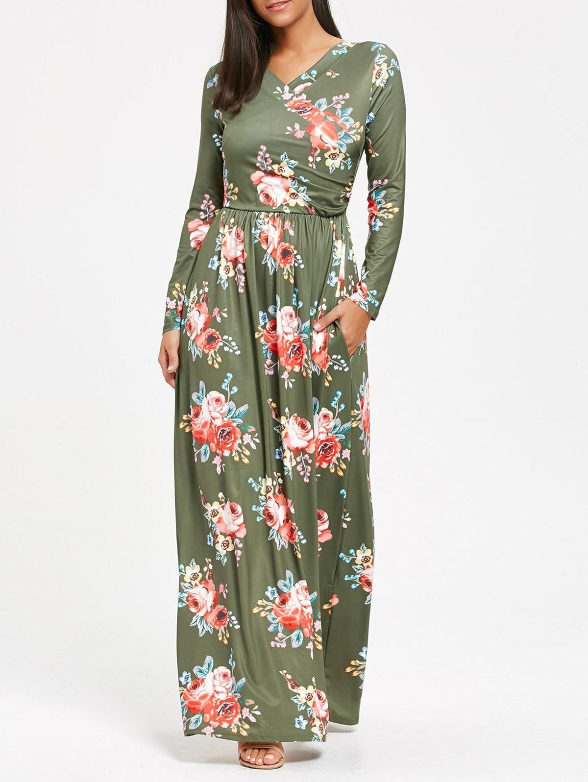 High waist long sleeve floral print maxi dress floral print maxi