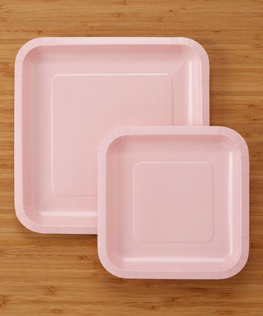 Another great find on Classic Pink Large u0026 Small Square Plate Set & Another great find on #zulily! Classic Pink 36-Piece Large u0026 Small ...
