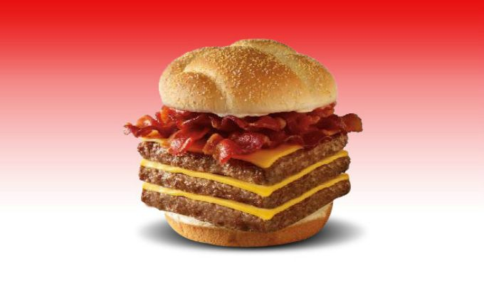 """Say hello to Wendy's Triple Baconator!! According to Wendy's website, this insane burger """"goes out to all the discerning carnivores."""