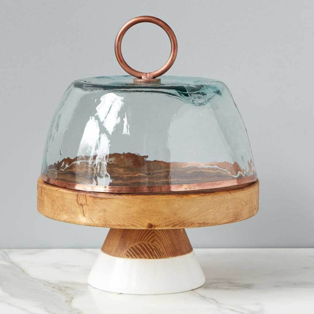Bianca glass and copper dome glass dome display glass
