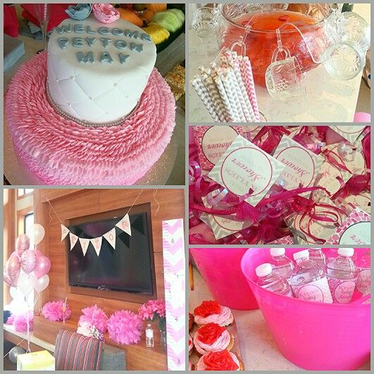 My beautiful baby shower!! Lots of pinterest ideas used here! So happy with the turnout! #pink #grey #chevron #girl #babyshower