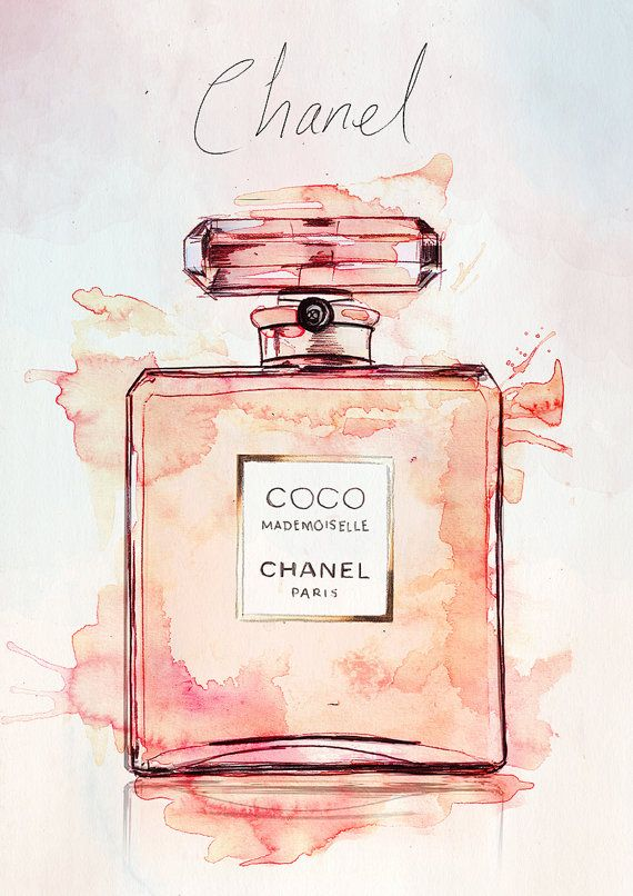 Coco Mademoiselle Chanel Perfume Watercolour Illustration Giclee