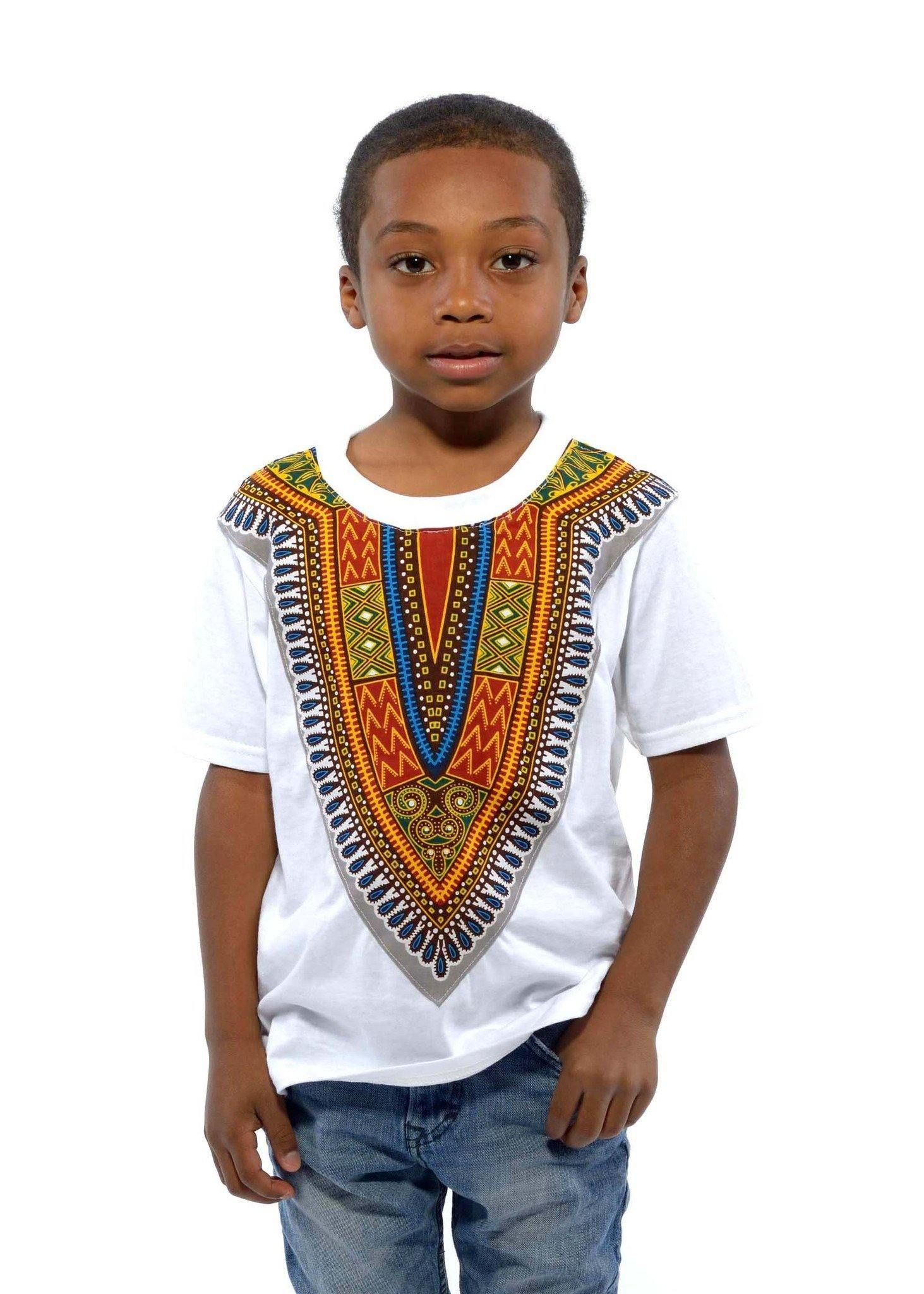 077917c4690 Kid s African Print Dashiki T-Shirt (White)