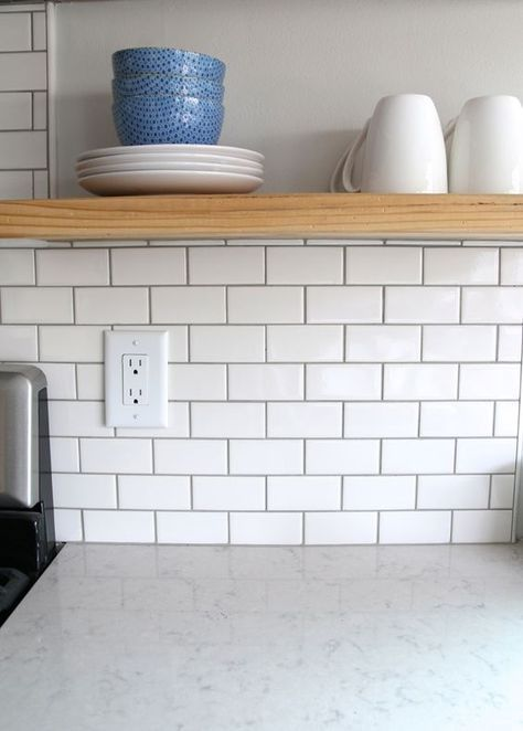 For the backsplash I went classic with a simple 2″ x 4″ subway tile ...