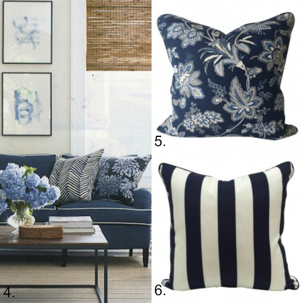 Blue and white cushion collection hamptons style for Hamptons decor