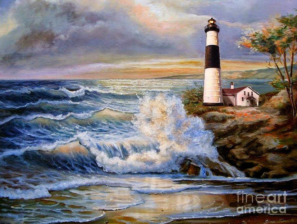 paisajes-marinos-con-faros-en-la-playa   cuadros   Pinterest   En la ...