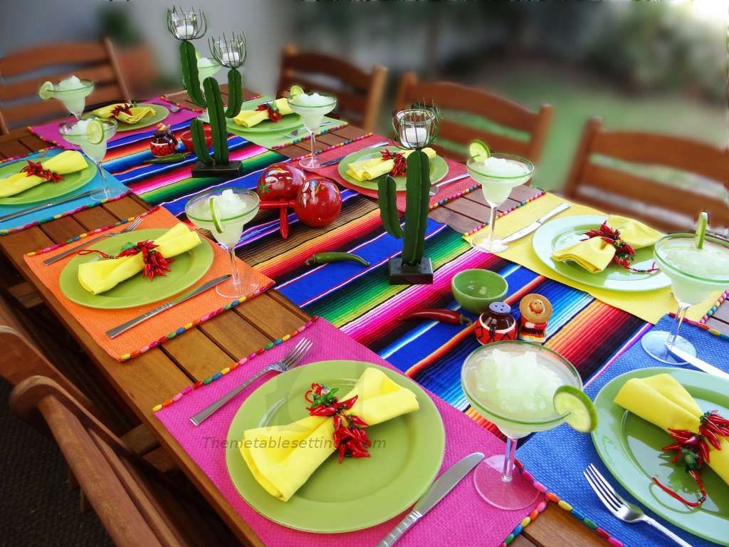 Table Decoration Ideas Mexican Style Napkin Rings Chilly Peppers Colorful  Placemats And Runner