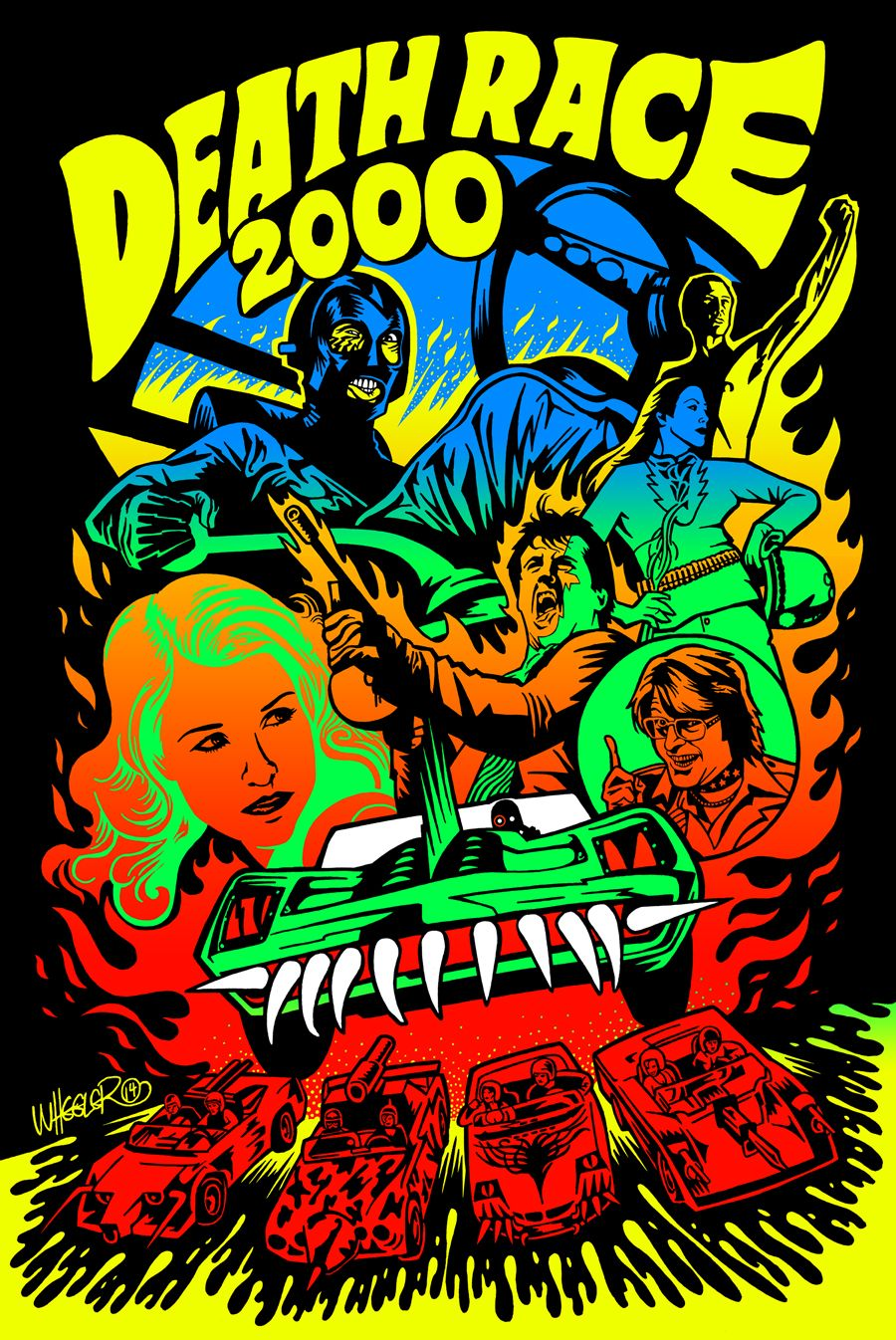 """Death Race 2000 print for Hero Complex Gallery's """"Kings of Cult"""" art show"""