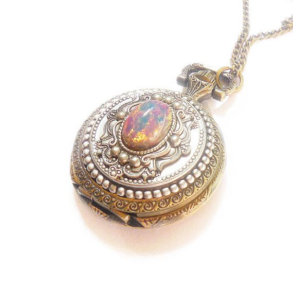 Pocket watch Locket style necklace Pink  Fire Opal Pocket watch  Necklace--Mother's Day gift. --gift for her-watch  necklace
