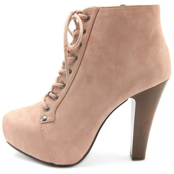 Lace-Up Platform Heel Bootie ($49) ❤ liked on Polyvore featuring shoes, boots, ankle booties, heels, booties, zapatos, heeled ankle boots, lace up heel boots, lace up boots and lace up booties