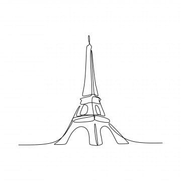 Paris Eiffel Tower Hand Drawn Vector Illustration Continuous Line Art Single Drawing Isolated On White Background, Paris, Isolated, Silhouette PNG and Vector with Transparent Background for Free Download