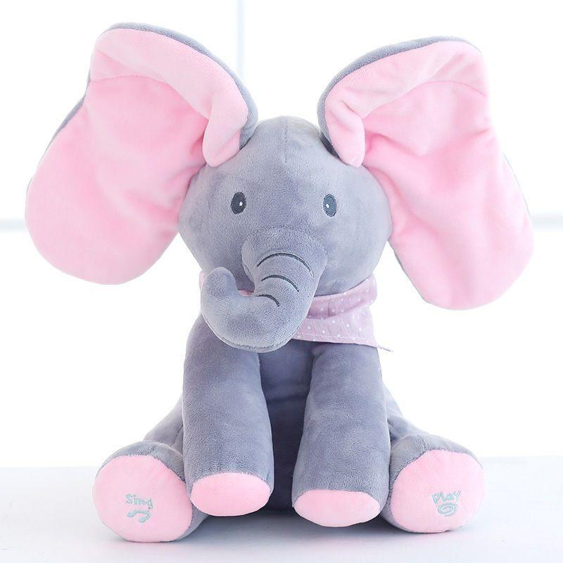 Baby Peek A Boo Elephant Plush Toy Singing Stuffed Pink Animated