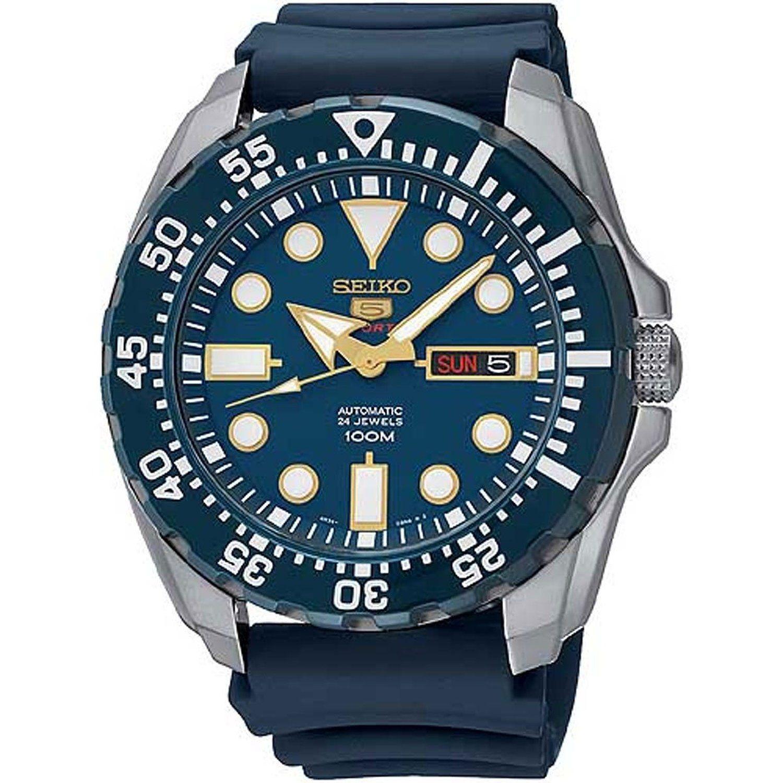 Seiko - SRP605K2 - 5 Sports - Montre Homme - Automatique Analogique -  Cadran Bleu - Bracelet Silicone Bleu 9f17a785ba53