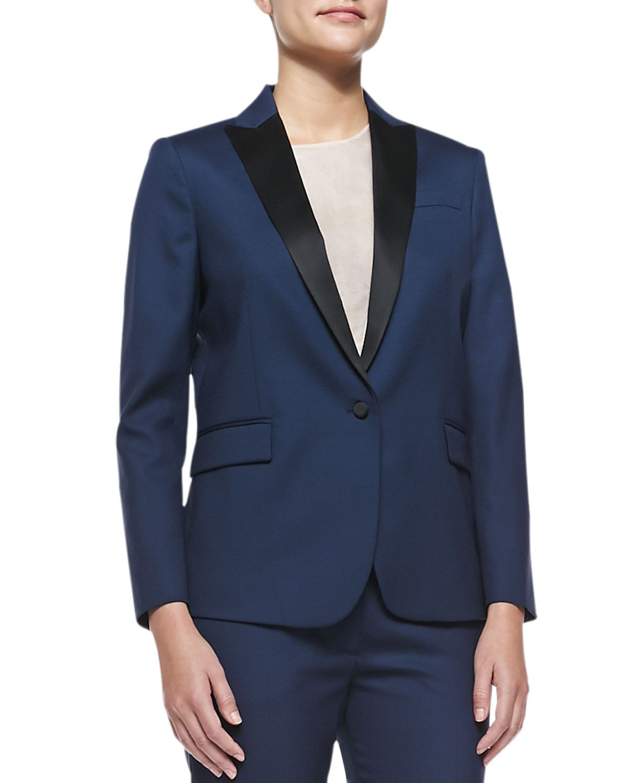 6d49285ad30 Joseph Savy Two-Tone Wool-Crepe Blazer, Women's, Size: 36, Navy/Black