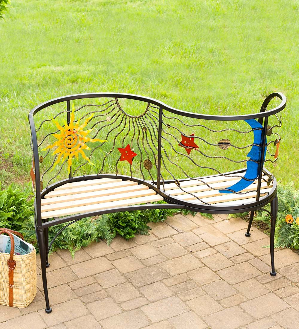 Sun and Moon Conversation Bench in Outdoor Furniture