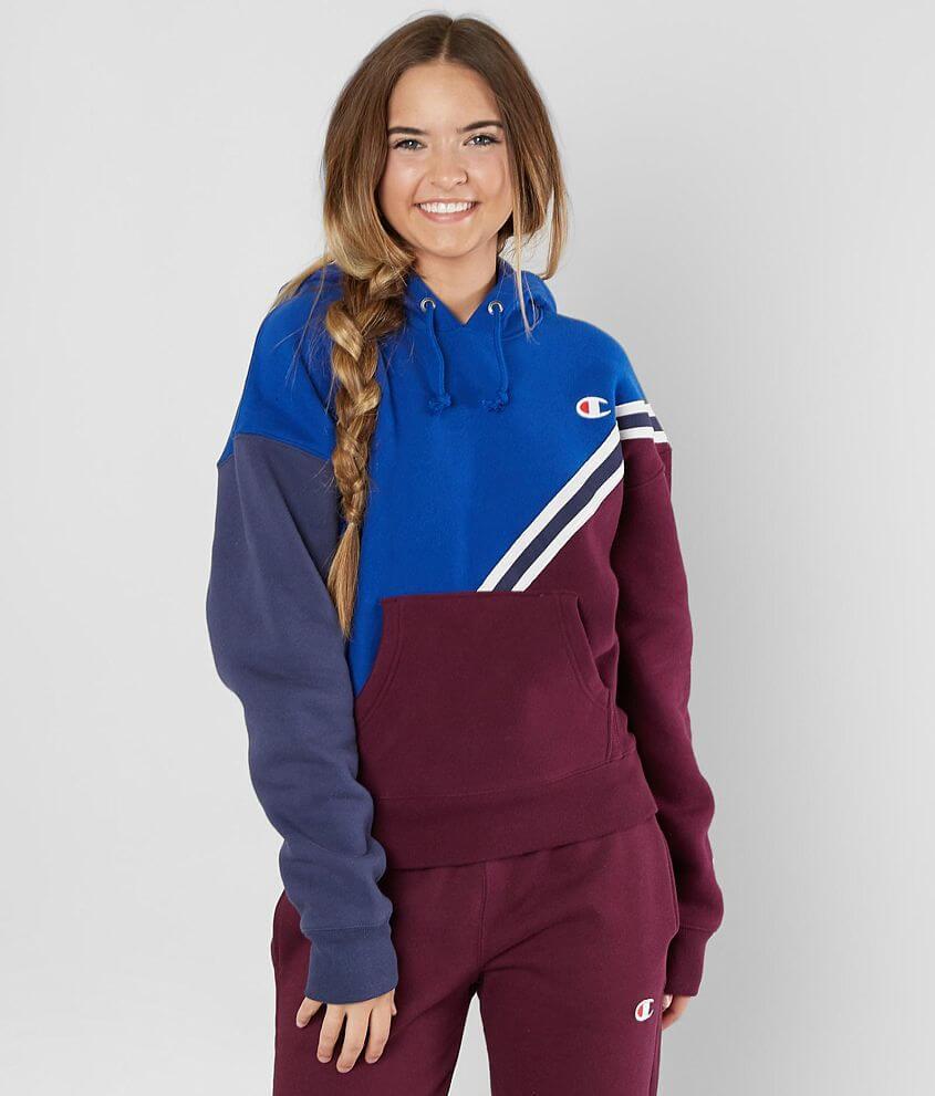 Champion Color Block Hooded Sweatshirt Wome In 2021 Hooded Sweatshirts Womens Sweatshirts Hoods Sweatshirts Women [ 991 x 845 Pixel ]