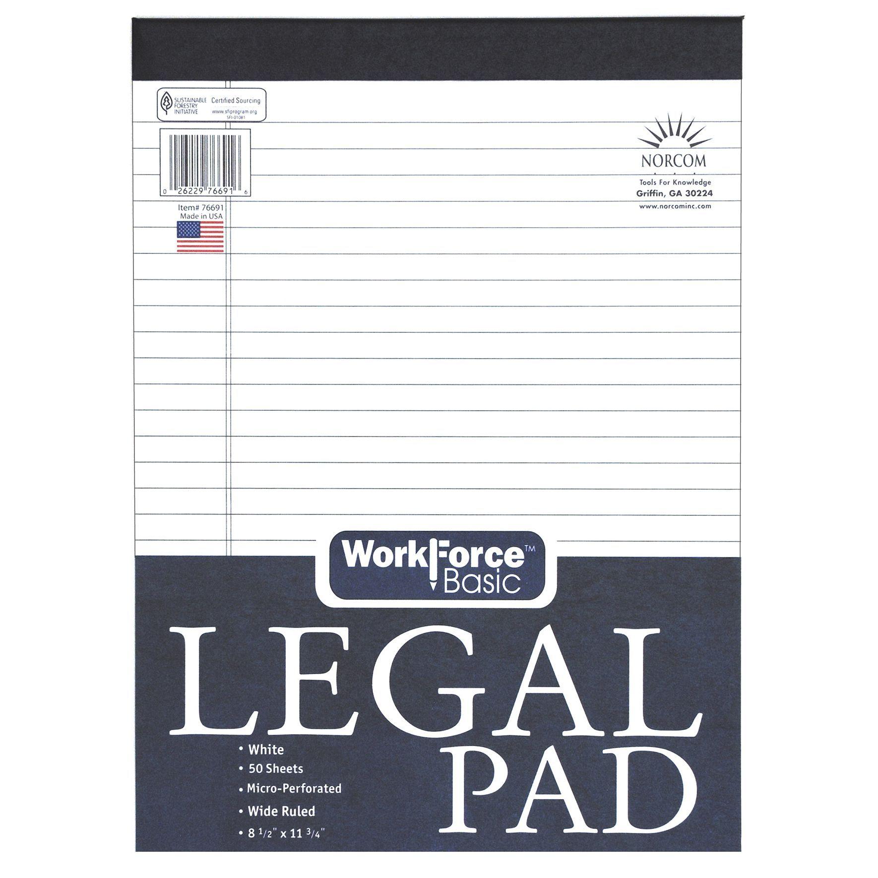 Norcom 76691 12 8 5 X 11 75 Legal Pad