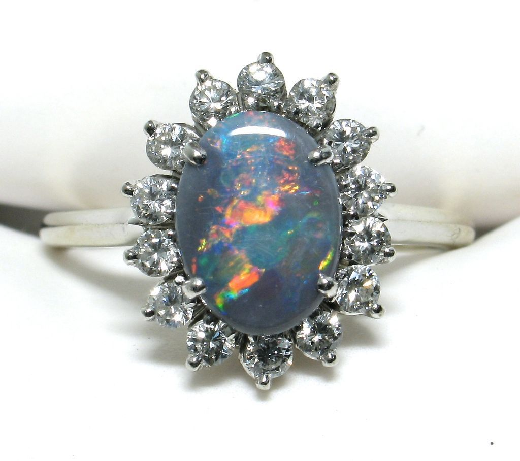 18k Black Opal Diamond Ring - Volcanic Colours! | Getting Married ...