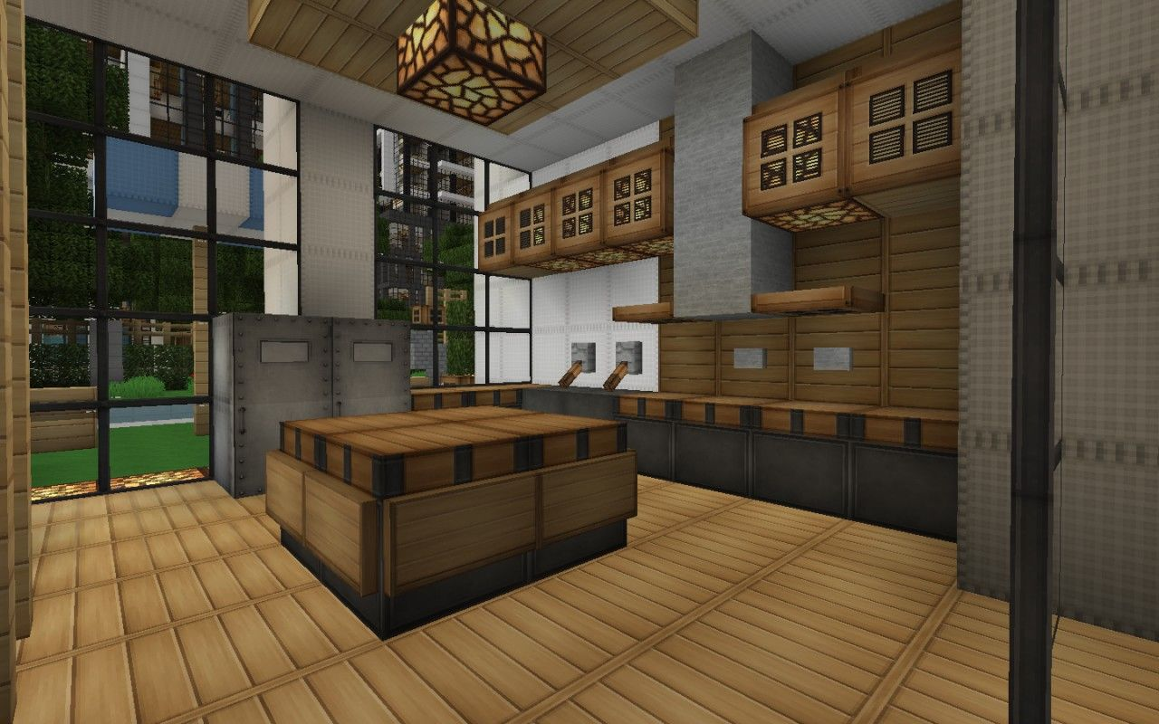 Minecraft Modern House Kitchen Google Search Minecraft Interior Design Minecraft House Designs Minecraft Kitchen Ideas
