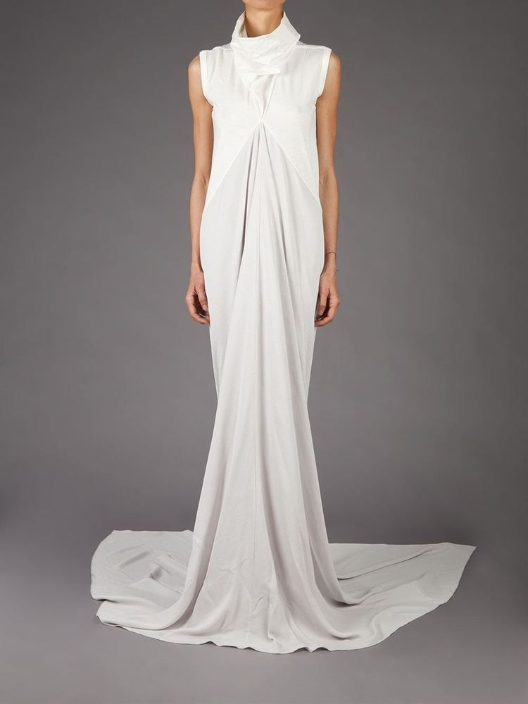 6bc9b374c9f7 RICK OWENS $2,150 full-length maxi mermaid train wedding gown Naska dress  40 NEW #RickOwens #MaxiDress #weddinggown #naska #longdress #cowlneck #gown