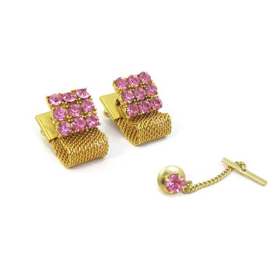 Vegas Baby! 70s Cuff Links Vintage Mens Pink Gold Rhinestone at CharmingManVintage #bling #vintage #pink #menswear