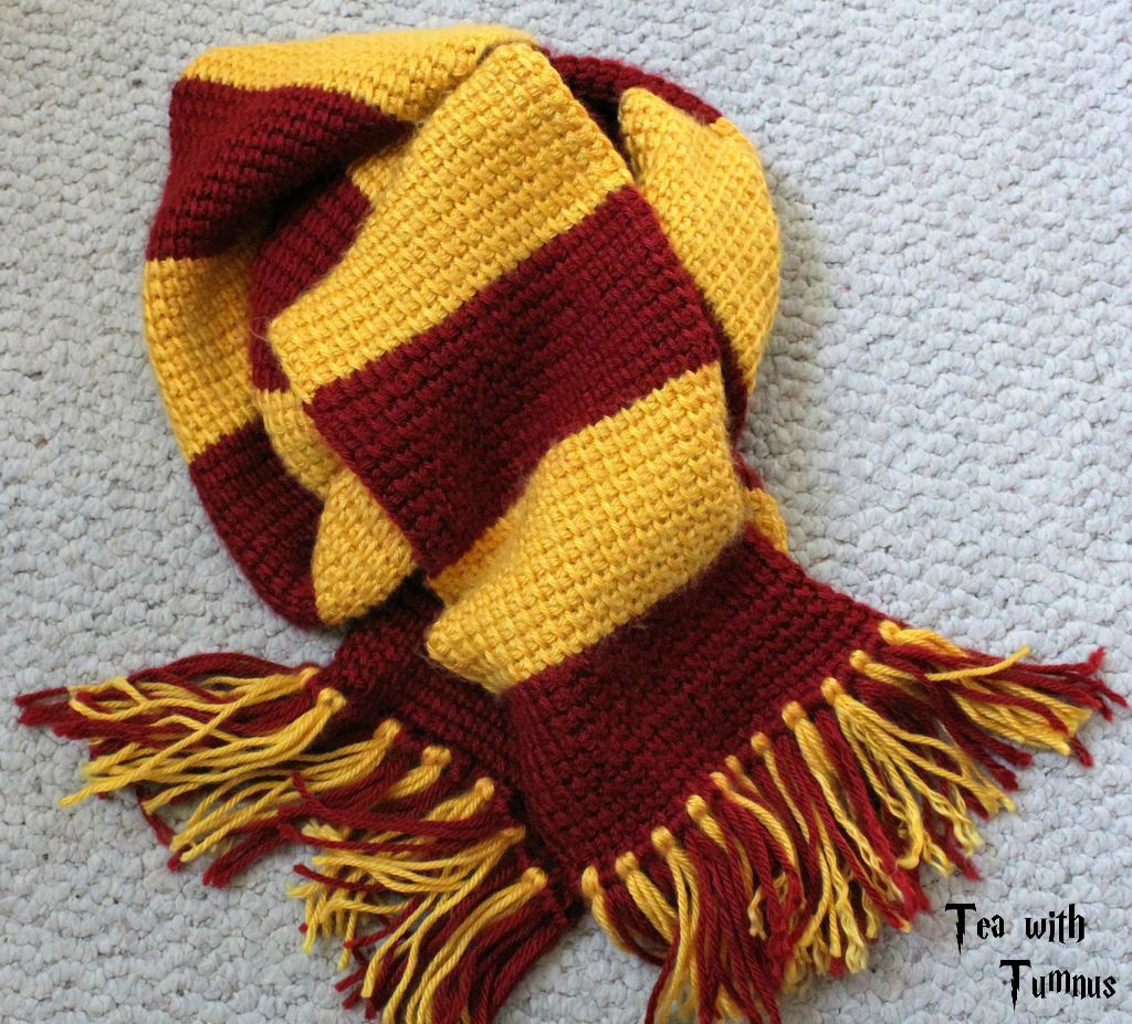Tunisian Crochet Pattern for Harry\'s Gryffindor Scarf | Tunisian ...