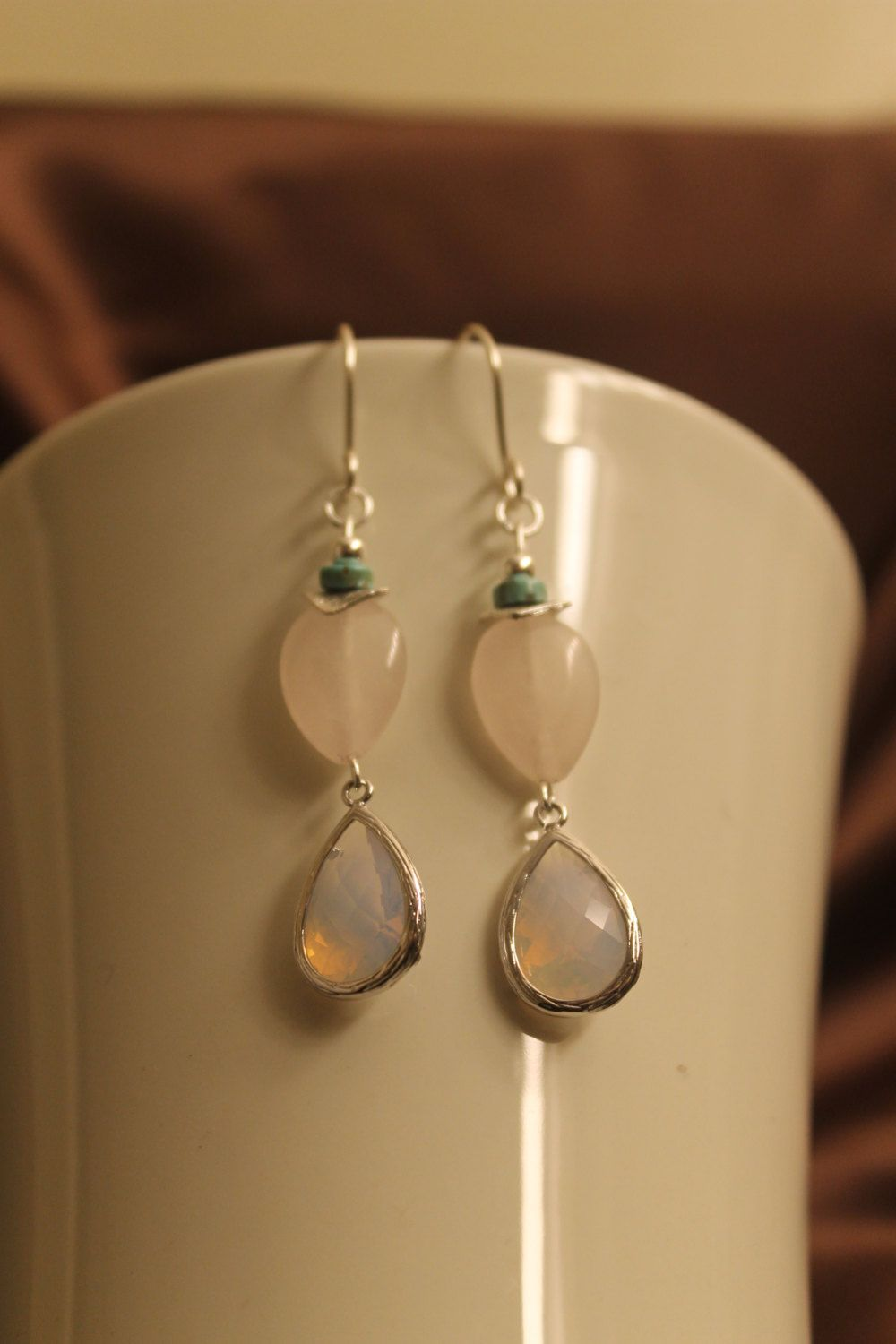 A personal favorite from my Etsy shop https://www.etsy.com/listing/175573861/moonstone-and-rose-quartz-earrings