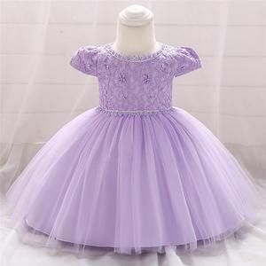 Toddler Baby Girls Lace Ball Gown Dress Embroidery Newborn Infant Flower Bow 1 Years Old Birthday Baptism Dress Baby Girl Chirstening Dress