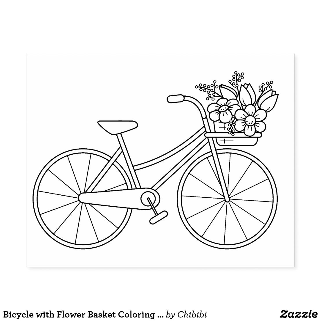 Bicycle with Flower Basket Coloring Page Rubber Stamp | Zazzle.com