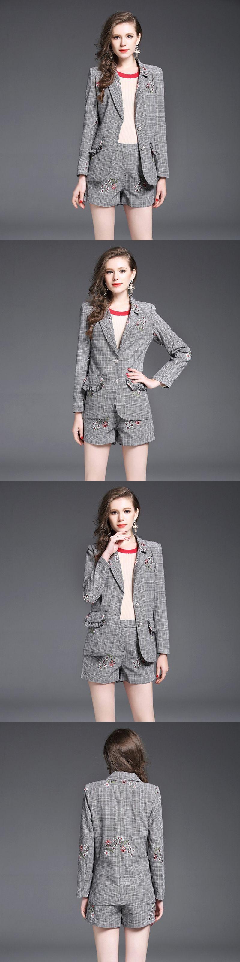 64619487f524 Blazer for Girls Office Suit Korean Style Women suits 2 Piece Set Women s  Blazers and Jacket Runway Coat + Short Pants vestidos