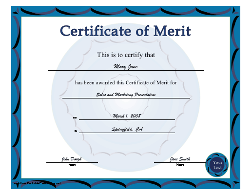 A BlueBordered Certificate Of Merit Free To Download And Print
