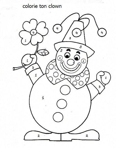 activit u00e9 manuelle   cirque   colorie ton clown